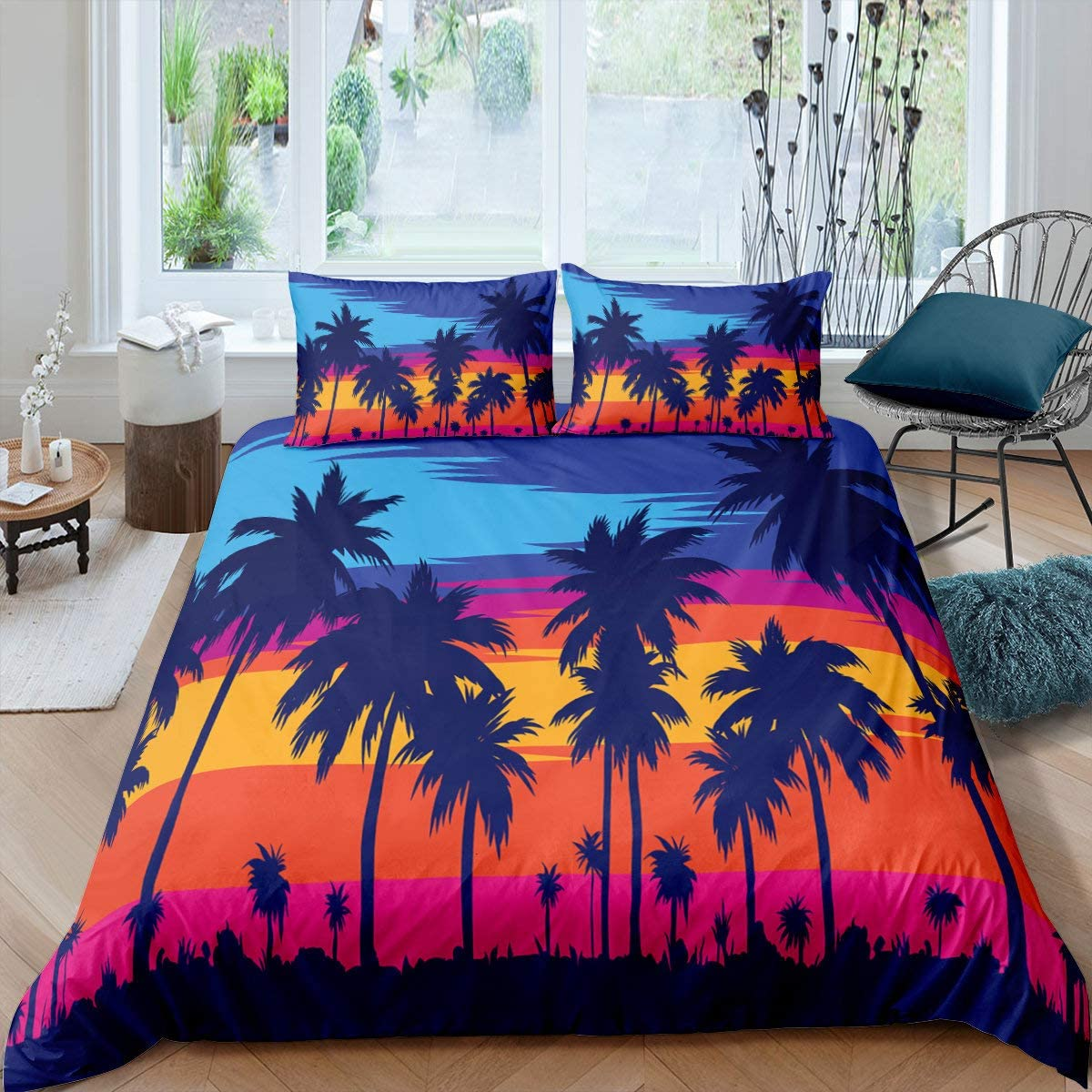 Palm 数量限定 Leaves Duvet Cover Full Colorf 大決算セール Pattern Tropical Plants Size