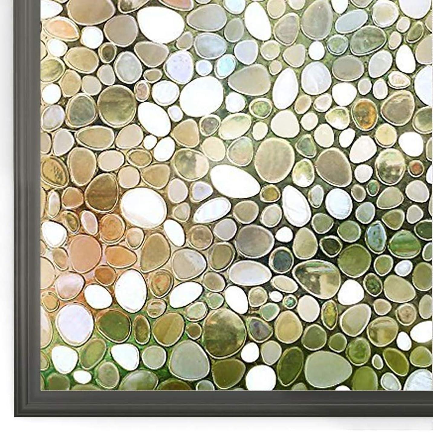 ビーズサンドイッチバッテリーRabbitgoo 窓 めかくしシート 貼ってはがせる窓ガラスフィルム 光によってはステンドグラスシール 外から見えない窓用フィルム 96%UVカット窓ガラス目隠しシート おしゃれな窓飾り 紫外線対策 窓めかくし 窓ピタフリーカット 飛散防止防犯防災 遮光断熱結露防止 まどの硝子サッシシールふぃるむ 賃貸網入りガラス適用(レトロ水玉 44.5 x 200cm)