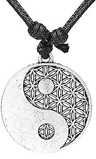 Ying et Yang fleur cabochon de verre Tibet Argent Chaîne Collier Pendentif