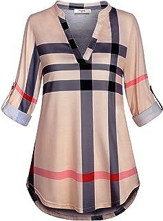 Viracy Womens 3/4 Roll Sleeve Shirt Notch V Neck Loose Pattern Tunic Top