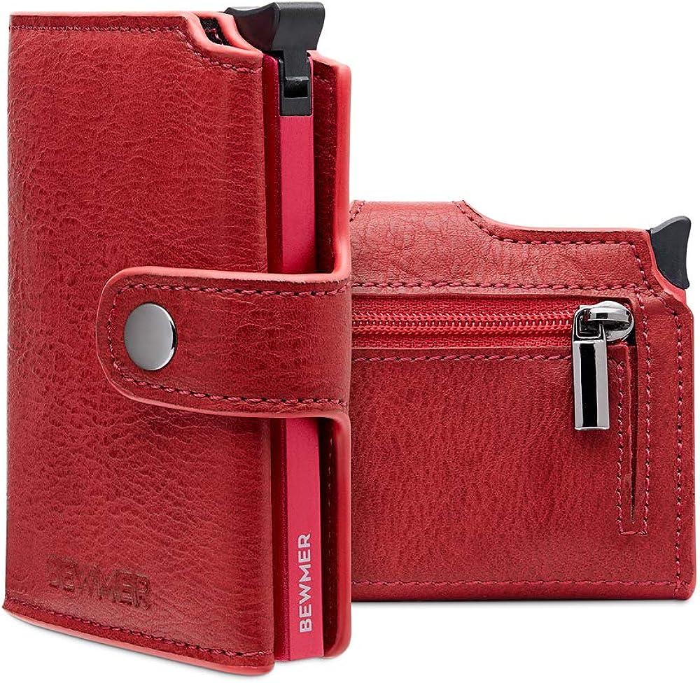 Bewmer, portafoglio e portacarte di credito unisex, protezione rfid, in pelle sintetica, rosso