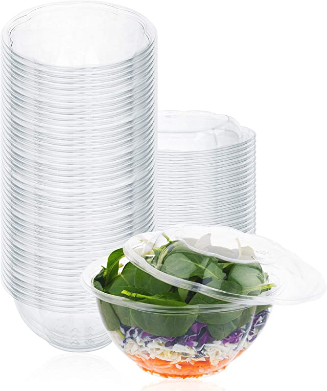 Plastic Salad Bowls 50 Count 32 Oz Disposable Salad Bowls With Lids To Go Container With Airtight Lids