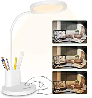 LED Desk Lamp Stepless Dimmable 3 Color Modes Rechargeable Touch Control Table Lamp with Pen Holder Phone Stand,360° Flexible Gooseneck,Cotanic Eye-Protection Reading Lamp for Study Room,Bedroom