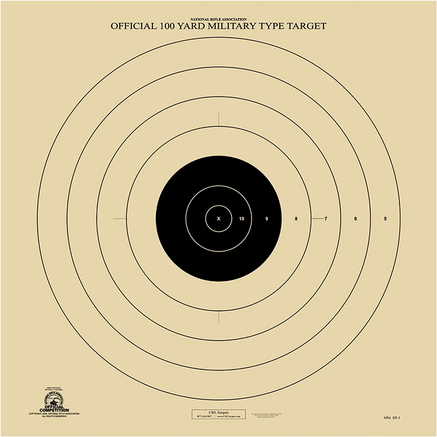 Official NRA SR-1 Target, High Powered Rifle Target, Paper Shooting Target : Sports & Outdoors