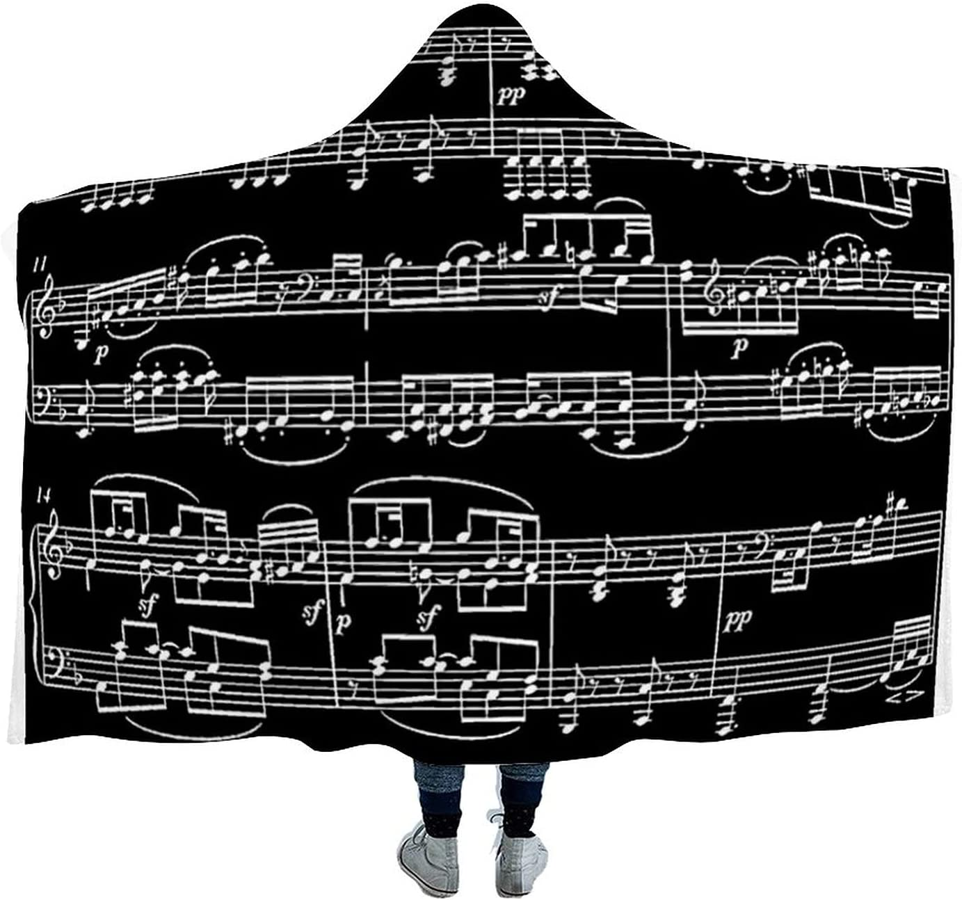 5 popular Black Decor Item Music Themed Max 45% OFF Blanket Wearable Hooded Microfiber