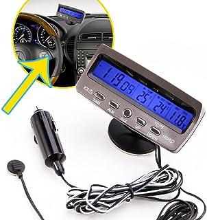 Spannungstester   SODIAL(R)12V LCD Car Digital Innen Aussen Thermometer Spannungstester Voltmeter Spannungsmesser KFZ PKW Datum Uhr Alarm Schwarz