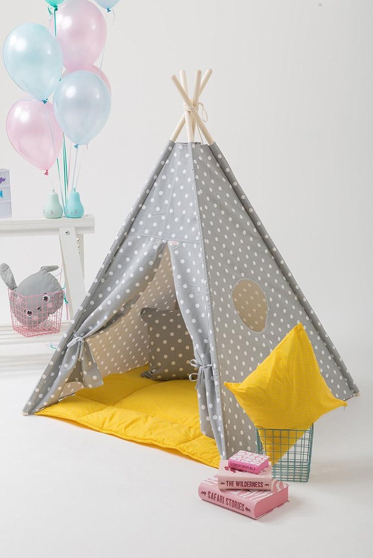 Erdbeerwoody Spielzelt mit Bodenspielmatte und Kissen- Gepunktetes Tippi Indianerzelt Spielhaus Zelt Set-100% Baumwolle + Birkenholz, Gelb