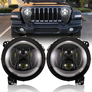 FieryRed 9 inch LED Headlights with DRL for Jeep Wrangler JL 2018-2019, High Low Beam Function Halo Angel Eyes Headlight, OEM