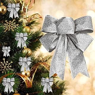 2X Groß Weihnachten Schleifen Weihnachtsbaum Anhänger Fenster Deko Ziehschleifen Autoschleifen Hochzeit Dekoration Silber