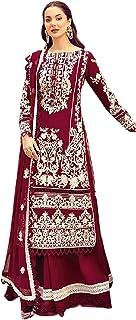 فستان نسائي أحمر للحفلات من القطن الخالص طويل مستقيم سلوار للنساء مسلم هيج باكستاني فستان 6093