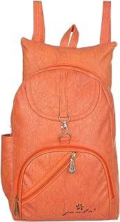 JANTA PU Leather shoulder Backpack Women's,college bag for Girls-(ORange-3244)