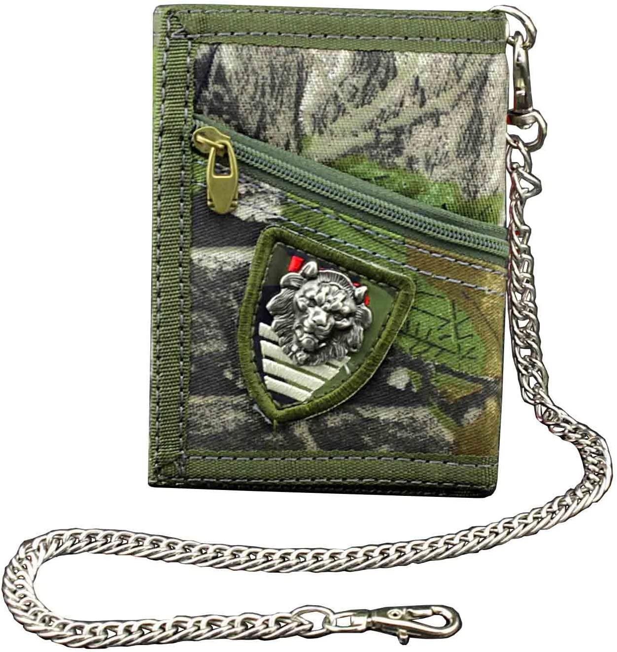 Men's Boy's Army Camouflage Trifold wallet Card Purse with safty Chain