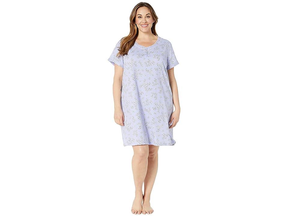 Karen Neuburger Plus Size Seranade Short Sleeve Nightshirt (Leaves/Sweet Lavender) Women