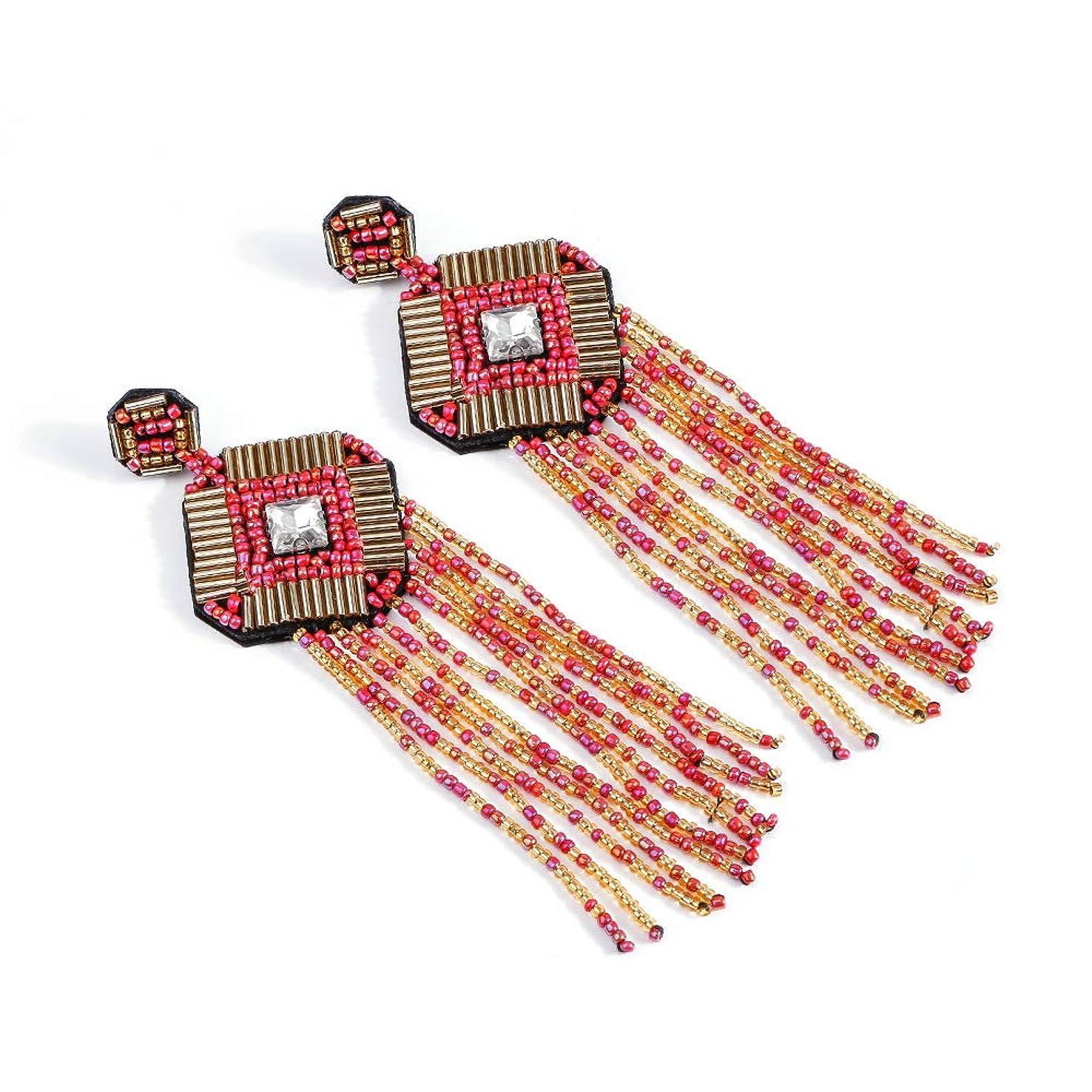窓ポーズ属性女性のためのボヘミアンピアスカフタッセルイヤリング、ファッションビーズのイヤリングロングタッセルピアス銀の波,ピンク