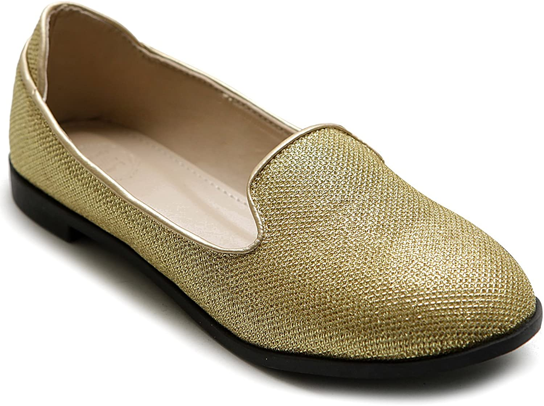 Ollio Women's shoes Ballet Glitter Smoking Flat