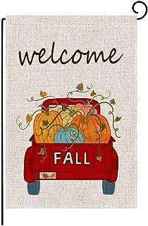 Keniot Fall Pumpkin Truck Welcome Garden Flag Double Sided Burlap Fall Garden Flag, Seasonal Fall Outdoor Funny Decorative Flags for Yard Outdoor Decor, 12.5 x 18.5 inch