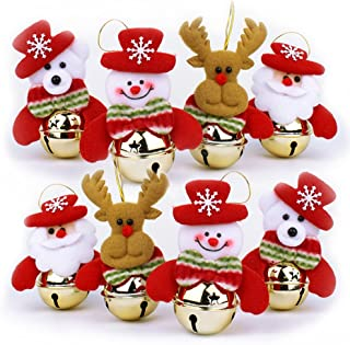 OBOOUM Christmas Bells Decorations for Home, 8 Pcs Set Christmas Tree Ornaments, Snowman/Old Man/Bear/elk
