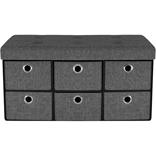 Sorbus Storage Bench Chest With Drawers Collapsible Folding Bench Ottoman Includes Cover Perfect For Entryway Bedroom Bench Cubby Drawer Footstool Hope Chest Faux Linen Gray Furniture Decor Amazon Com