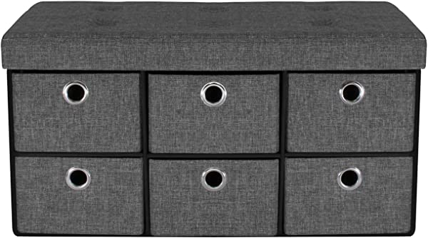 Sorbus Storage Bench Chest With Drawers Collapsible Folding Bench Ottoman Includes Cover Perfect For Entryway Bedroom Bench Cubby Drawer Footstool Hope Chest Faux Linen Gray