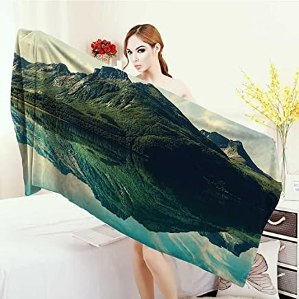 Anhounine 3D Printed Microfiber Beach Towel Cottage Decor Collection View of Mountain with Sharp Peaks Covered