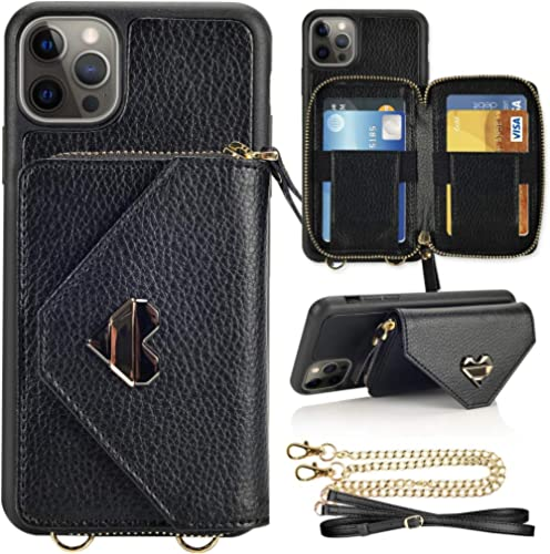 Wallet Case for iPhone 12 Pro Max, JLFCH iPhone 12 Pro Max Crossbody Case with Zipper Credit Card Holder Wrist Strap ...