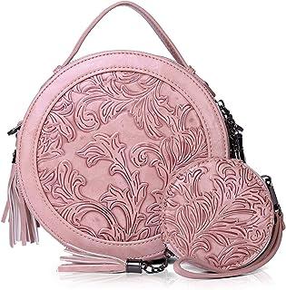 MEITRUE Runde Handtasche Damen Veganes Leder kleine Umhängetasche Damen Schultertasche Elegante Crossbody Bag Frauen Hand ...