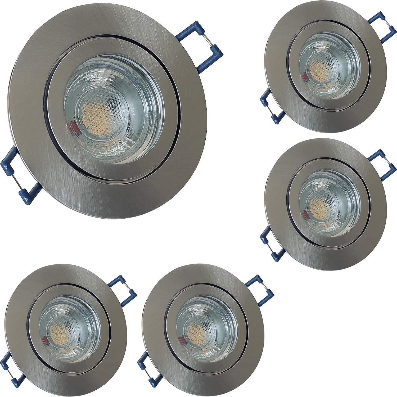 5 Stück IP44 MCOB LED Bad Einbaufassung Aqua 230 Volt 3 Watt Rund Farbe Eisen geb. Lichtfarbe Warmwei