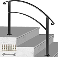 LOVSHARE 3FT Adjustable Wrought Iron Transition Handrail Matte Black Fits 3 Steps
