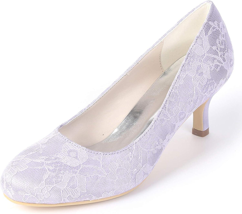 Layearn Frauen Hochzeit Schuhe Satin handgemachte Sommer   6cm High Heels Frühling klobige Runde Braut   FY119  | Bunt,