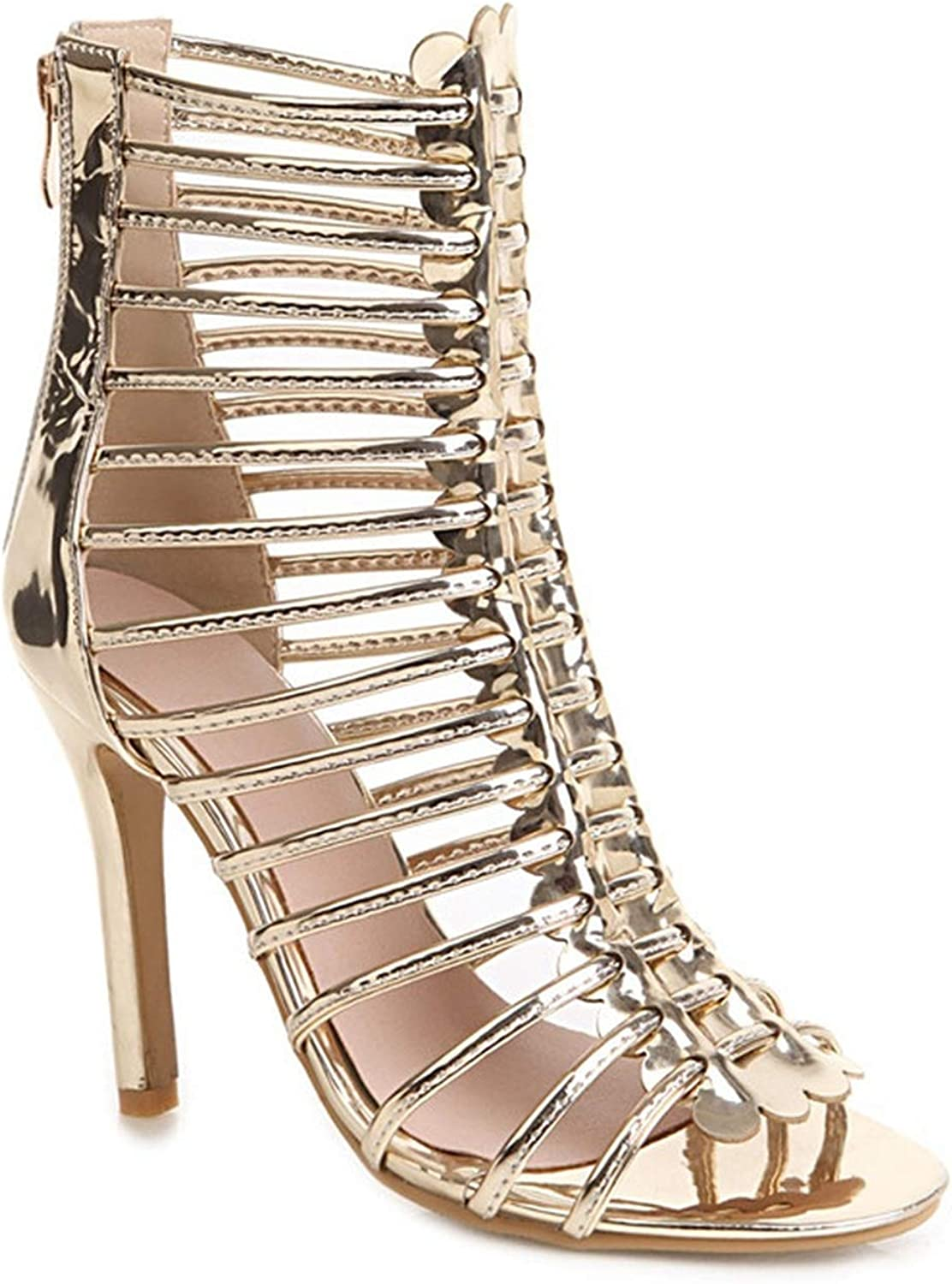 Surprise-Show Summer Women Sandals Sexy High Heels Cut-Outs Ankle Boots gold Silver Party Wedding shoes