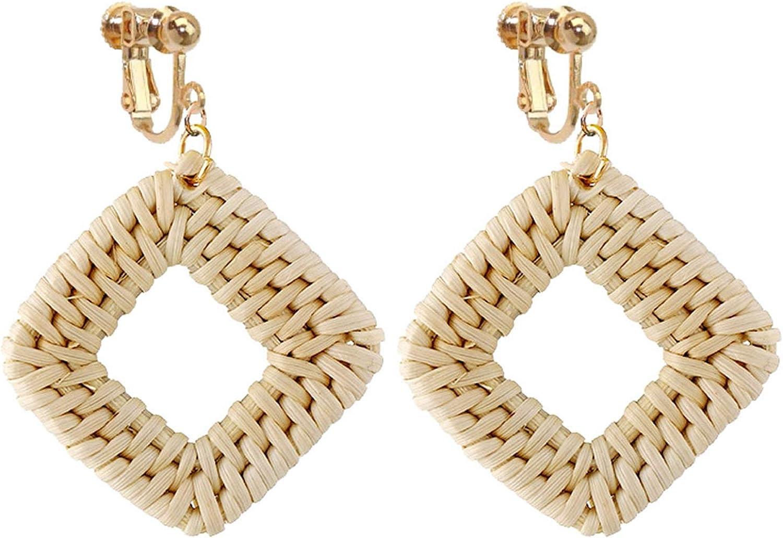 Non Pierced Rattan Clip On Earrings For Girls Women Lightweight Geometric Statement Square Dangle Bohemian Handmade Woven Straw Wicker Braid Hoop Drop Vacation Ears Jewelry