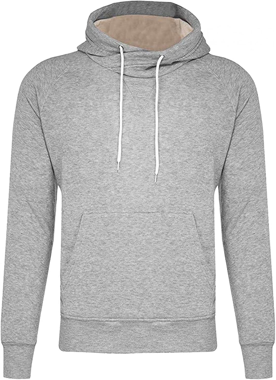 Hoodies for Men Men's Casual Solid Long-sleeve Tops Round Neck Drawstring Pocket Hoodies Fashion Blouse Sweatshirts Hoodies