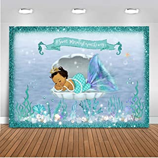 Mehofoto Mermaid Baby Shower Backdrop Under Sea Mermaid Photography Background 7x5ft Vinyl Little Mermaid Baby Shower Party Banner Backdrops