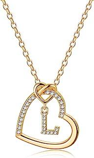 CZ Heart Pendant Initial Necklaces, 14K Gold Filled Heart Initial B Necklaces for Teen Girls Women, Dainty Letter Necklace...