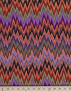 Cotton Kaffe Fassett Flame Stripe Zig Zag Brown Purple Green Orange Cotton Fabric Print by the Yard (PWGP134BROWN)