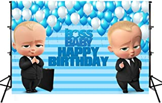 Photo Backgrounds, Boss Baby Happy Birthday Photography Backdrops Little Boys Blue White Balloons Stripes Party Banner Photographic Studio Props 7X5ft