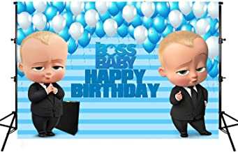 Photo Backgrounds, Boss Baby Theme Photography Backdrop, Vinyl Blue White Balloons Stripes Happy Birthday Party Banner Photographic Studio Props 7X5ft