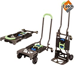 Cosco Shifter 300-Pound Capacity Multi-Position Heavy Duty Folding Hand Truck and Dolly, Green (2 Pack)