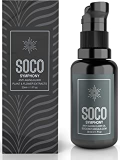 SOCO Botanicals Face Oil Serum - Anti Aging Organic Elixir for Face and Eyes with Sea Buckthorn, Argan, Rosehip & CoQ10, Neroli & Immortelle Essential Oil Blend