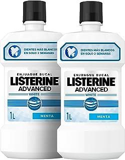 Listerine Dental Avanzado con Blanqueador, Enjuague Bucal, Pack de 2 x 1000 ml