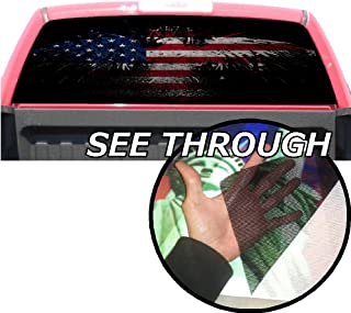 P358 American Flag Eagle Tint Rear Window Decal Wrap Graphic Perforated See Through Universal Size 65