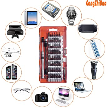 GANGZHIBAO 90pcs Electronics Repair Tool Kit Professional, Precision Screwdriver Set Magnetic for Fix Open Pry Cell P...