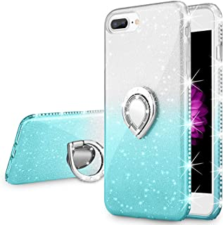 VEGO Case Compatible for iPhone 6 Plus iPhone 7 Plus iPhone 8 Plus for Girl Women Glitter Gradient Ombre Shiny Bling Diamond Rhinestone Bumper with Ring Kickstand Protective Phone Case Silver Teal