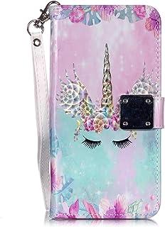 Candy House Cartera Funda para Samsung Galaxy J2 Prime/Grand Prime G530, Case de Brillo Serie [5 Ranura Tarjetas] PU Cuero Flip Cover Protector Piel Tapa con Soporte Correa de Mano (Lindo Unicornio)