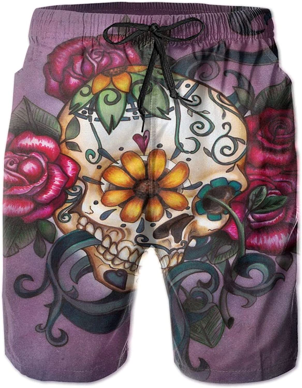 Hello Gorgeous Men's Swim Trunks Sugar Skull Flowers Quick Dry Beach Shorts with Pockets