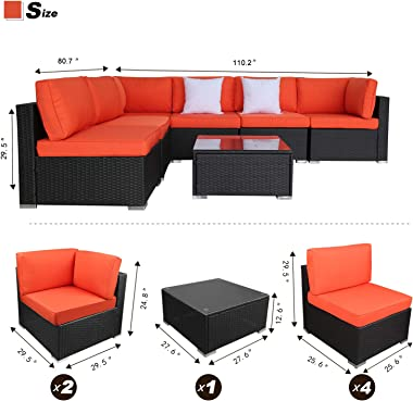 EXCITED WORK 7Pcs Outdoor Patio Wicker Sofa, Garden Sectional Rattan Furniture Set with Coffee Table,Washable Couch Cushions