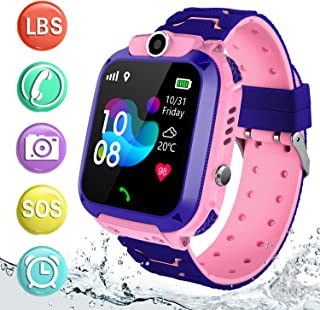 AGPS Waterproof Kids Smart Watch, Girls Boys HD Touch Screen Sport Smartwatch with AGPS/LBS Tracker Voice Chat SOS Help Anti-Lost Calling Phone Watches for Children Teen Student (Pink)