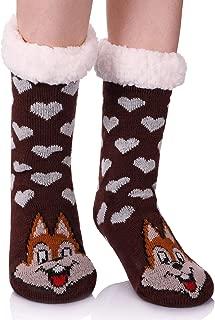 Women's Soft Warm Cute Animal Fuzzy Fleece Lining Knitting Non-Slip Winter Slipper Socks