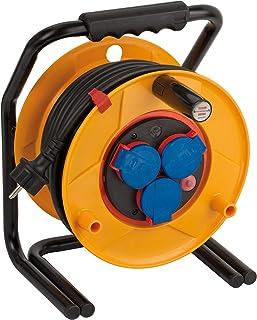 Brennenstuhl Brobusta Bretec IP44 Gewerbe-/Baustellen-Kabeltrommel 25m - Spezialkunststoff, Baustelleneinsatz und Einsatz im Außenbereich, Made In Germany gelb