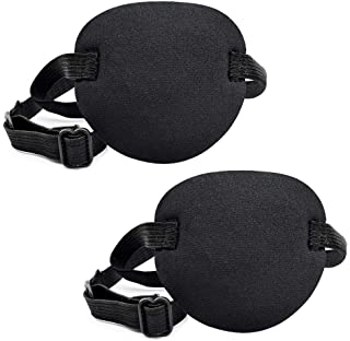 Pirate Eye Patches 2 Pack Adjustable Amblyopia Lazy Eye Patches for Adults and Children, Black